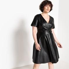 Платье-миди расклешенное с короткими рукавами из искусственной кожи Castaluna