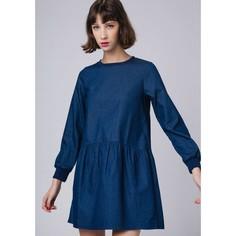 Платье из денима расклешённое с круглым вырезом Compania Fantastica