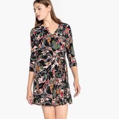 Платье с цветочным принтом, рукава 3/4, на ремешке, CANDY Suncoo