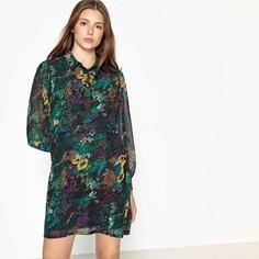 Платье короткое с цветочным рисунком и длинными рукавами SEE U Soon