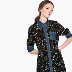 9b130bb7b23fafa Платье-рубашка с цветочным рисунком и вставками из джинсовой ткани  Mademoiselle R