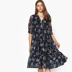 Платье расклешенное с цветочным принтом, длина миди, 3/4 SEE U Soon