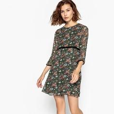 Платье короткое расклешенное с цветочным рисунком и рукавами 3/4 Molly Bracken