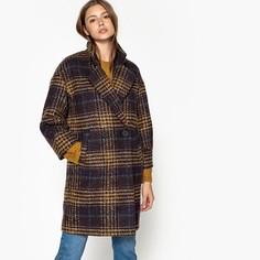 Пальто длинное в клетку, зимняя модель SEE U Soon