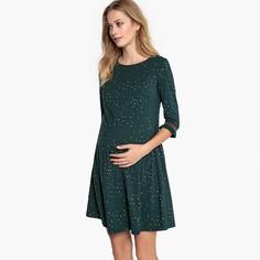 Платье для периода беременности с принтом и рукавами до локтя LA Redoute Maternite