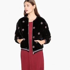 Куртка-бомбер из велюра с цветочной вышивкой, DIEGO Suncoo