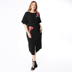 Платье с круглым вырезом, вышивкой и короткими рукавами Lovedrobe