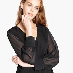 Блузка с v-образным вырезом и длинными прозрачными рукавами SEE U Soon