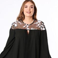 Блузка со вставками на вырезе и длинными рукавами Lovedrobe