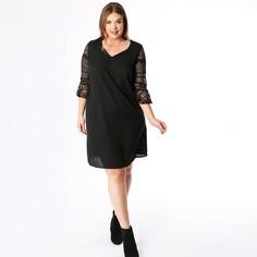 Платье с V-образным вырезом, воланами и рукавами 3/4 Lovedrobe