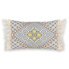 Чехол на подушку-валик с вышивкой и отделкой бахромой, Kostas Am.Pm.