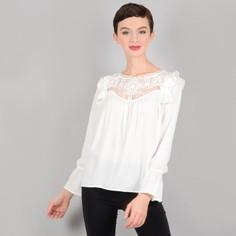 Блузка с кружевной манишкой и воланами на плечах Molly Bracken