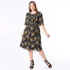 Платье с круглым вырезом, цветочным рисунком и короткими рукавами Lovedrobe