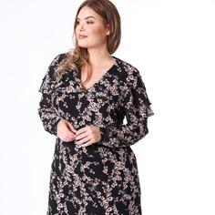 Платье с v-образным вырезом, цветочным принтом, воланами, рукава 3/4 Lovedrobe