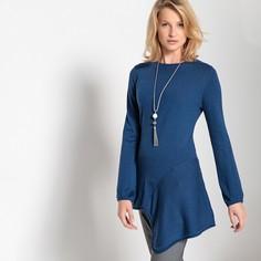 Пуловер-туника асимметричный из тонкого трикотажа с круглым вырезом Anne Weyburn