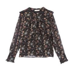 Блузка с воротником-стойкой, цветочным рисунком и длинными рукавами SEE U Soon