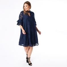 Платье с воротником-стойкой, кружевом и рукавами 3/4 Lovedrobe