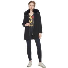 Пальто средней длины с воротником из искусственного меха Desigual