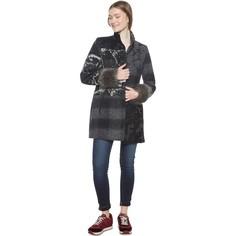 Пальто средней длины в стиле пэчворк из полушерстяной ткани Desigual