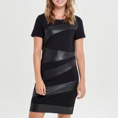 Платье прямого покроя с вставками из искусственной кожи и короткими рукавами Only