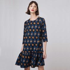Платье короткое расклешенное с этническим рисунком и длинными рукавами Compania Fantastica