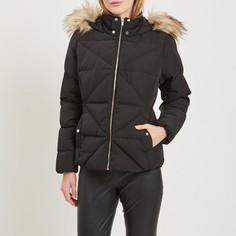 Куртка стеганая с капюшоном с оторочкой из искусственного меха Vila