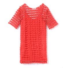 Платье с короткими рукавами и вышивкой SEE U Soon