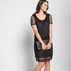 Платье прямое средней длины с гипюром и стразами Anne Weyburn