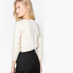 Пуловер с круглым вырезом, вставкой из кружева сзади и длинными рукавами SEE U Soon