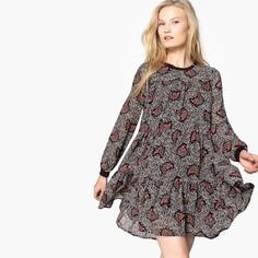 Платье объемное с круглым вырезом и графическим принтом SEE U Soon