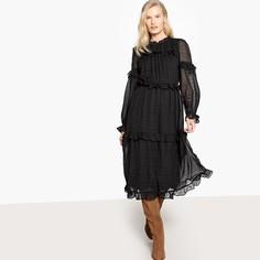 Платье длинное с воланами и прозрачными рукавами Vero Moda