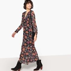 Платье длинное с цветочным рисунком, V-образным вырезом и длинными рукавами SEE U Soon