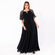 Платье длинное с расклешёнными рукавами и украшениями золотого цвета Lovedrobe