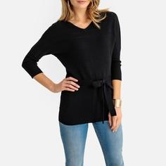 Пуловер длинный с V-образным вырезом из тонкого трикотажа Anne Weyburn