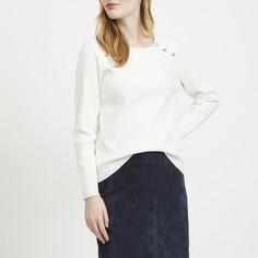 Пуловер с круглым вырезом и оригинальными пуговицами Vila