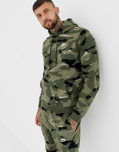 Худи зеленого цвета с камуфляжным принтом Nike Club AR1313-325 - Зеленый
