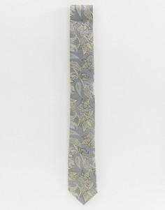 Серый галстук с цветочным принтом Twisted Tailor - Серый