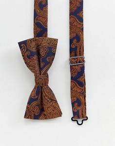 Темно-синий галстук-бабочка с золотистым жаккардовым рисунком пейсли Twisted Tailor - Темно-синий