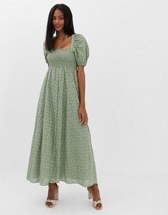 Платье макси с пышными рукавами и вышивкой ришелье ASOS DESIGN - Зеленый