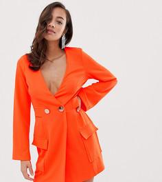 Платье-смокинг с пуговицами ASOS DESIGN Fluoro - Оранжевый