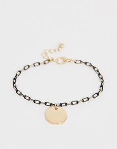 Золотистый браслет-цепочка с черной отделкой и подвеской-диском ASOS DESIGN - Золотой