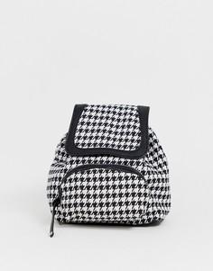 Рюкзак с принтом в ломаную клетку Pieces - Черный
