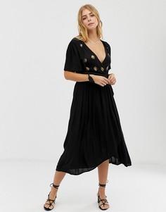 Платье с запахом и вышивкой Raga A Touch Of Gold - Черный