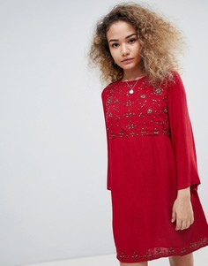 Свободное платье с рукавами клеш и вышивкой En Creme - Красный