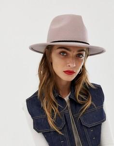 Фетровая шляпа с плетеной лентой на тулье ASOS DESIGN - Бежевый