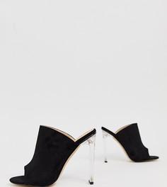 Мюли из искусственной замши на прозрачном каблуке In The Style - Черный