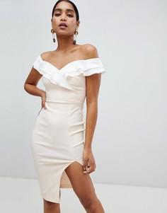 Платье с открытыми плечами и разрезом Vesper - Розовый