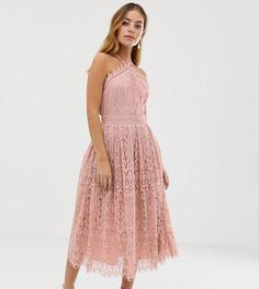 Платье миди с кружевом и лифом в стиле сарафана ASOS DESIGN Petite - Розовый