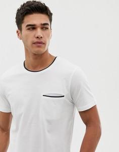 Футболка с карманом и контрастной отделкой Selected Homme - Белый