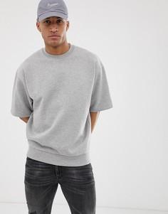 Серый oversize-свитшот с короткими рукавами ASOS DESIGN - Серый